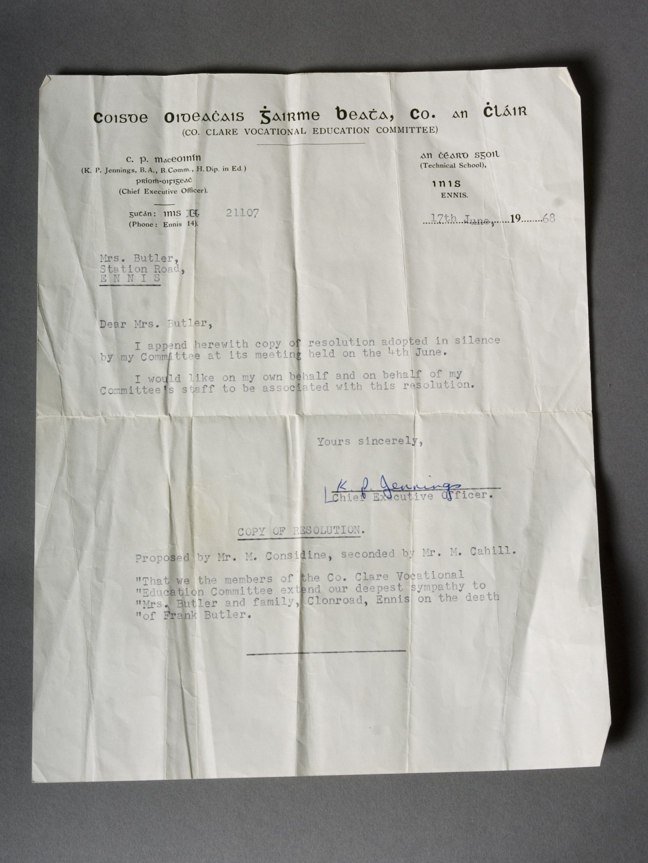 Letter with copy of resolution passed by Clare VEC, 1968 Large