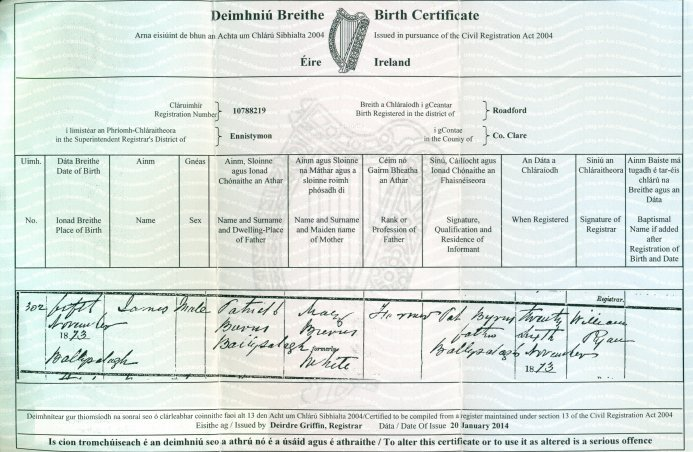 clare genealogy: family histories - donated material: birth